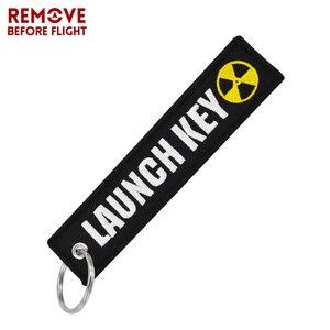 Image 2 - 오토바이 및 자동차 선물에 대 한 새로운 패션 핵 발사 키 체인 태그 자 수 키 Fobs 홀더 OEM 키 체인 Keyring Bijoux