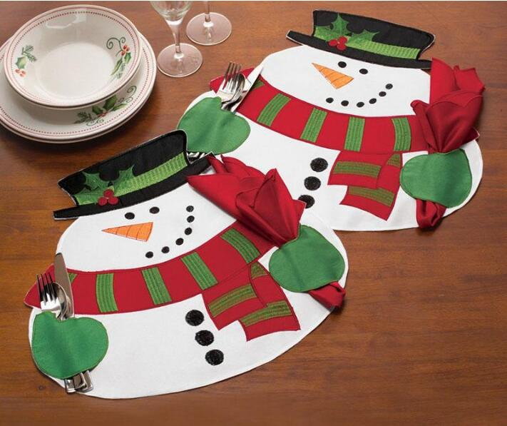new christmas solid snowman placemat napkin place mat placemat dinner table dec wholesale fg414 - Christmas Placemats And Napkins
