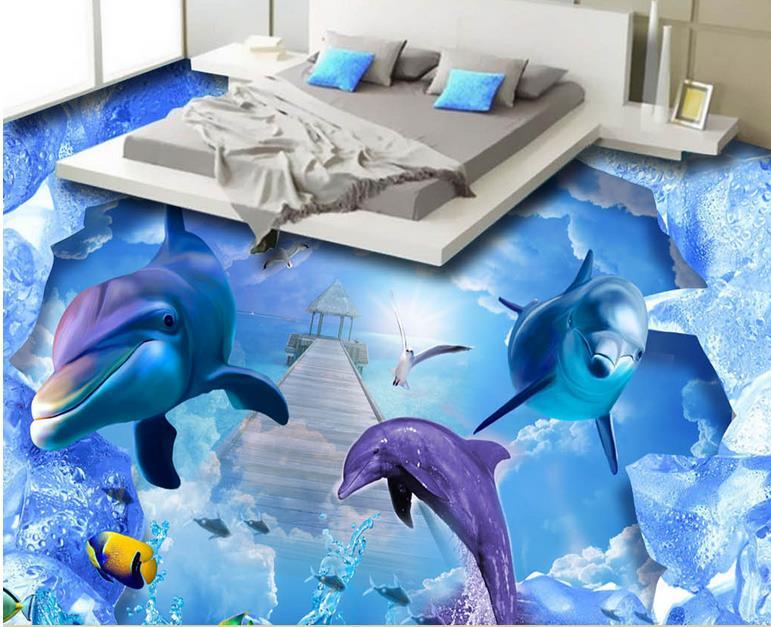 ФОТО custom wallpaper self adhesive 3d flooring Ocean World wall mural wallpaper modern bathroom flooring wallpaper waterproof