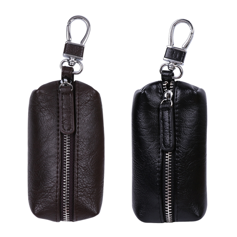 Men Women Synthetic Leather Car Key Ring Holder Case KeyChain Purse Bag Coin portable car key chain ring keychain case coin holder zipped bag purse pouch