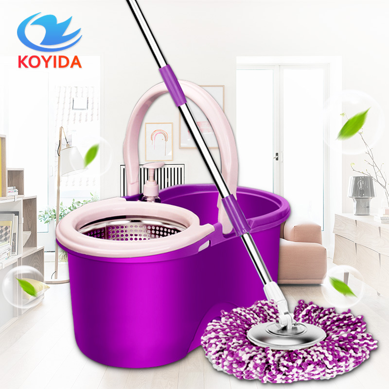 KOYIDA <font><b>Mop</b></font> Bucket Magic Spin <font><b>Mop</b></font> Bucket Double Drive Hand Pressure With 1 Microfiber <font><b>Mop</b></font> Head Household Floor Cleaning &4 Colors