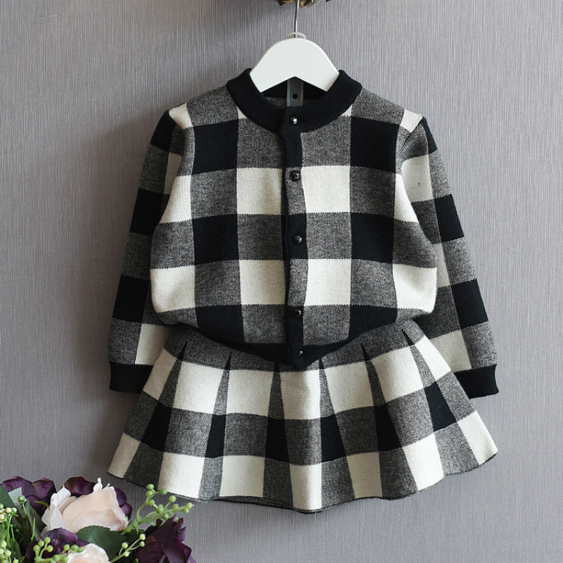 2018 New Autumn Women Clothes Units Children Knitted Fits Lengthy Sleeve Plaid Jackets+ Skirts 2Pcs for Children Fits 2-8T Garments CC088 women clothes, autumn woman clothes set, women clothes...
