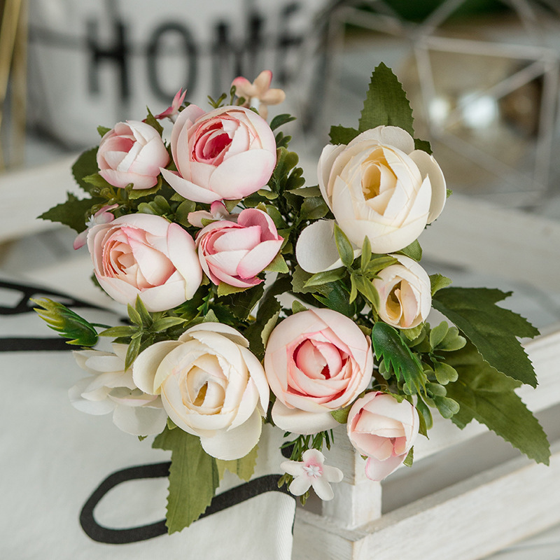 6 Heads Bouquet Rose Decor Artificial Flower Home Decor Imitation Fake Flower for Garden Plant Desk Decor Hand-Holding Flower (5)