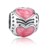 Fit Pandora Bracelets Necklace Shining Pink Enamel Love Heart Charms 100 925 Sterling Silver For Woman