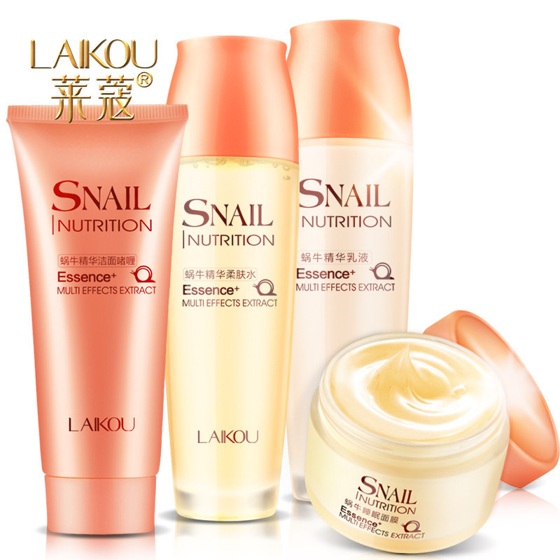 Snail Extract Cream Skin Care 4pcs Set Whitening Oil Control Moisturizing Anti-aging Anti-Wrinkle Beauty Face Care Maquiagem argireline matrixyl 3000 peptide cream hyaluronic acid ha wrinkle collagen firm anti aging skin care equipment free shipping