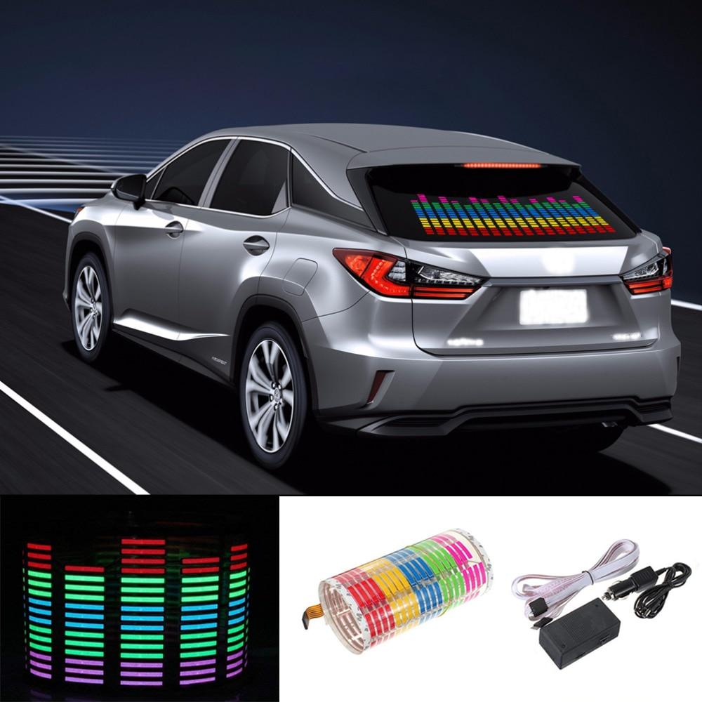 Niscarda Car RGB LED Music Rhythm Flash Light Sound Activated Sensor Equalizer Rear Windshield Sticker Styling Neon Lamp 90x25cm
