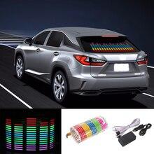 Niscarda araba RGB LED müzik ritim flaş ışığı ses aktif sensör ekolayzır arka ön cam etiketi şekillendirici Neon lamba 90x25cm