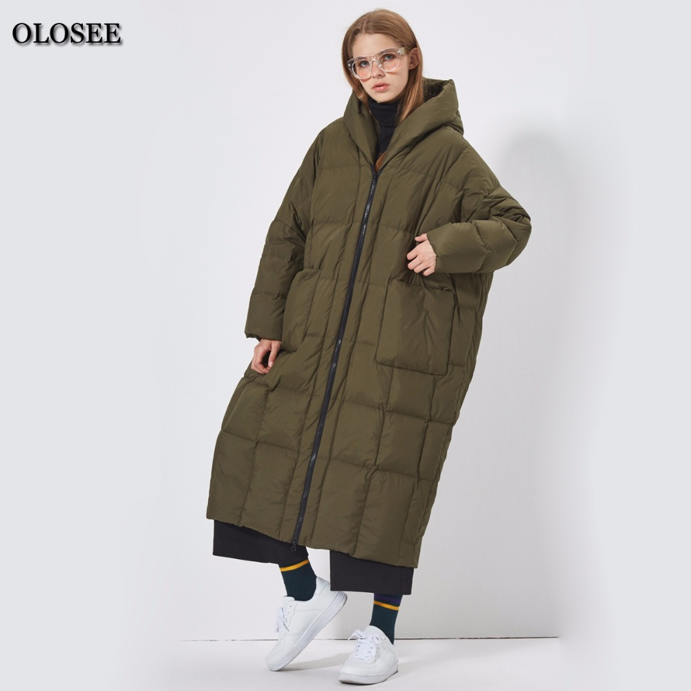 874b50dbf93f9 2018 New Style women casual loose white duck down coat thick hooded down  jacket High Street Outerwear Pockets winter coat jacket