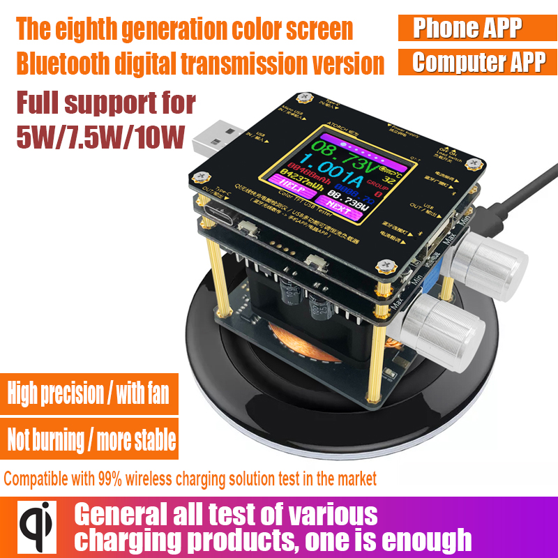 QI Wireless Charger Tester Color TFT Bluetooth android PC app USB Current Voltage meter Load Detector indicator DC voltmeter
