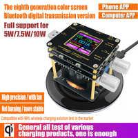 QI sans fil chargeur testeur couleur TFT Bluetooth android PC app USB courant tension mètre charge détecteur indicateur DC voltmètre