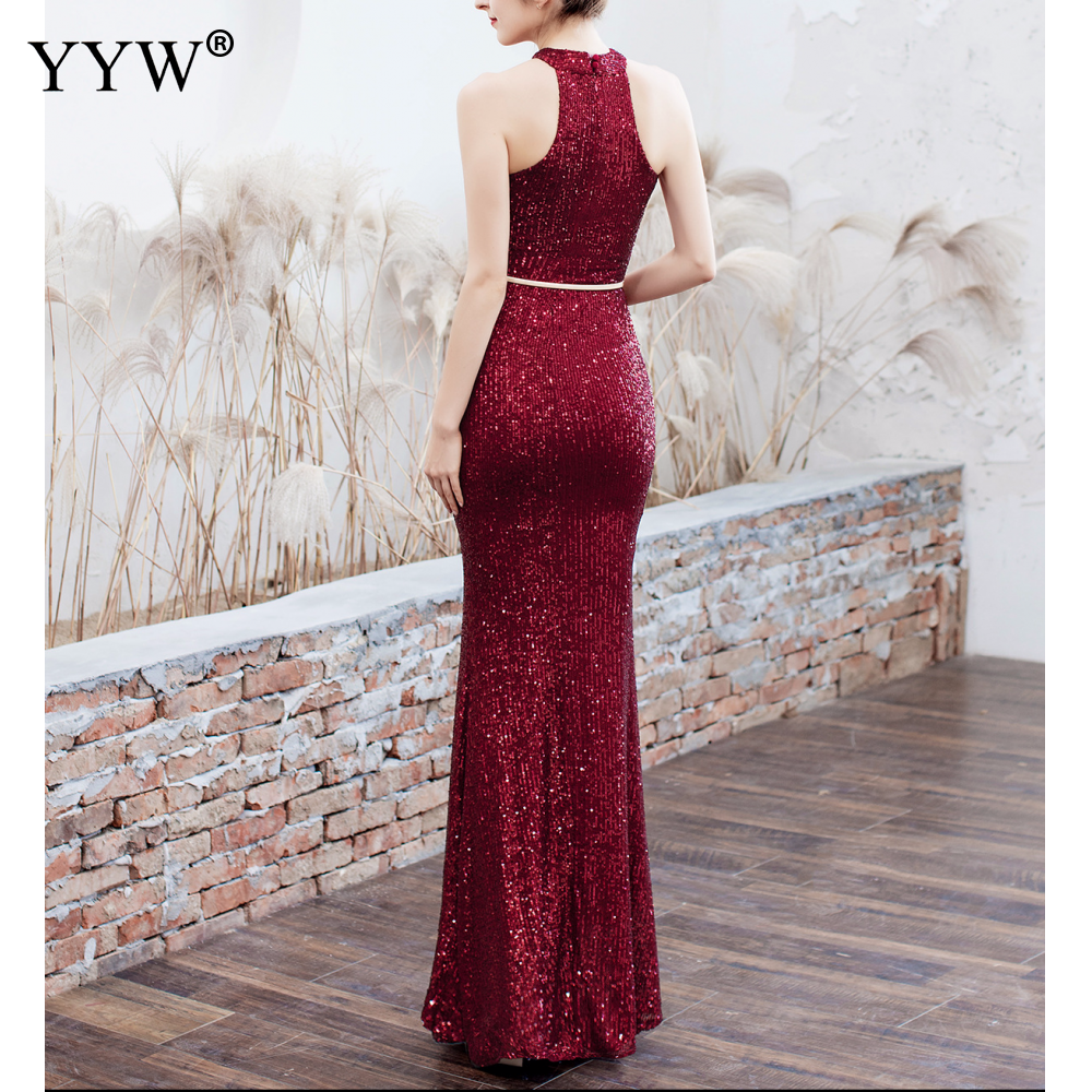Elegant Sequined Halter Sleeveless Mermaid Long Evening Dress 3