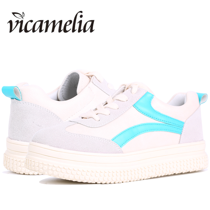 Vicamelia 2017 White Shoes for Women Breathable Casual Flat Shoes Women Platform Sneakers Shoes Female Footwear 001 free shipping candy color women garden shoes breathable women beach shoes hsa21