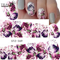 1 Sheets Water Transfer Women Full Cover Sticker Nail Art Decals Nail Art Beauty Purple Rose Decorations Polish Tips STZ369