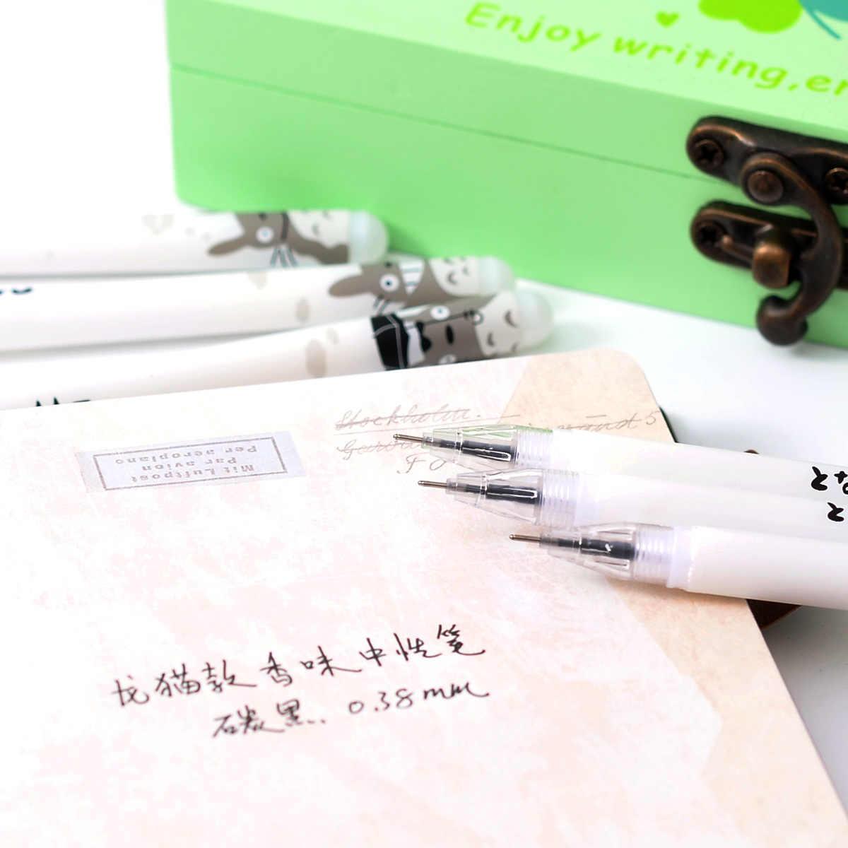 3 uds. Bolígrafo de Gel bonito Kawaii Totoro de 0,38mm, bolígrafo para escribir y firmar, suministros escolares para Oficina, Papelería para estudiantes, recompensa