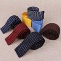 2017 New Arrival Dot Knit Ties for Men Suit Wedding Grooms Polyester Silk Necktie Candy Color Slim Neckwear Gravatas Corbatas