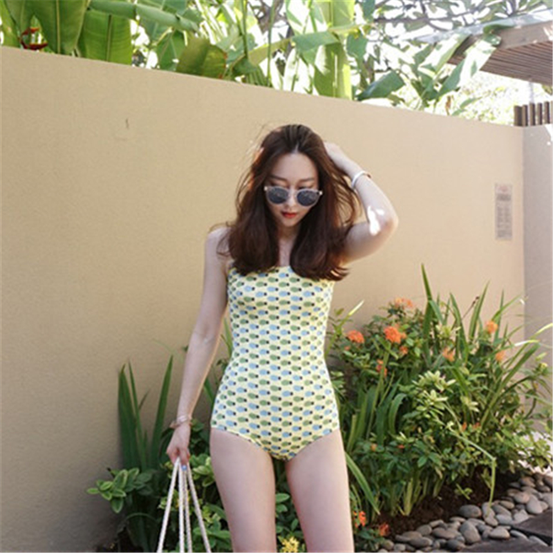 One Piece Swimsuit 2018 Sexy Swimwear Women Bathing Suit Swim Vintage Summer Bodaysuit Print Bandage yellow pineapple Swimsuit
