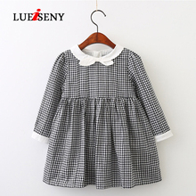 LUEISENY Girls Dress Summer 2019 British Style Plaid Bow Kids Dresses For 3-7Y Baby Girl Clothes