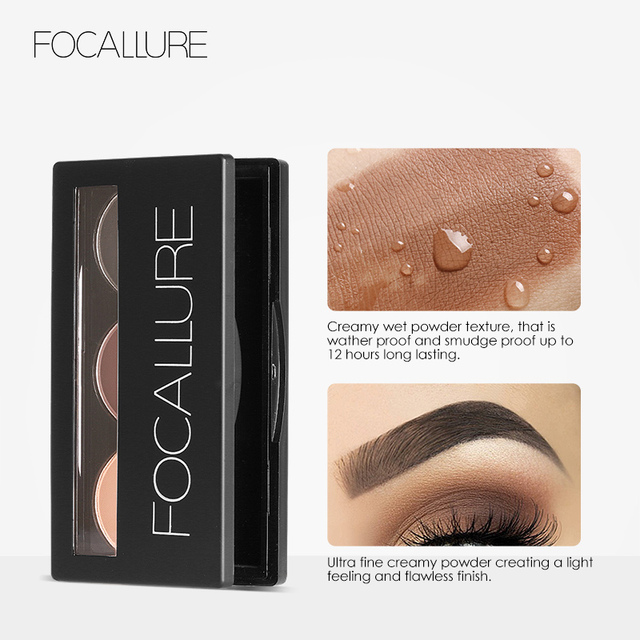 Focallure Eyebrow Powder 3 Colors Eye brow Powder Palette Waterproof and Smudge Proof With Mirror and Eyebrow Brushes Inside 3
