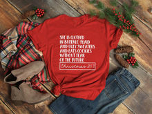 She is clothed in Buffalo Plaid t-shirt Cute Christmas Shirts for Women  slogan casual red aesthetic tee bachelorette party tops c2010519da09