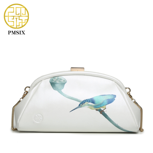 Pmsix 2017 Spring Summer Printing Women Genuine Leather Shoulder Bag Cowskin Small Chain Bag White Evening  Clutch Bag P520008