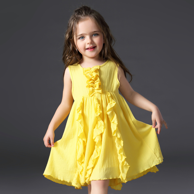 Summer New Girls Cotton Dress Children Clothing 2017 Summer Princess Sundress Vocation Girl Clothes Pink Yellow 2 3 4 5 6 Years new arrival children s dress summer spring fall girl princess dress 100% cotton short sleeves girls dress 4 9y