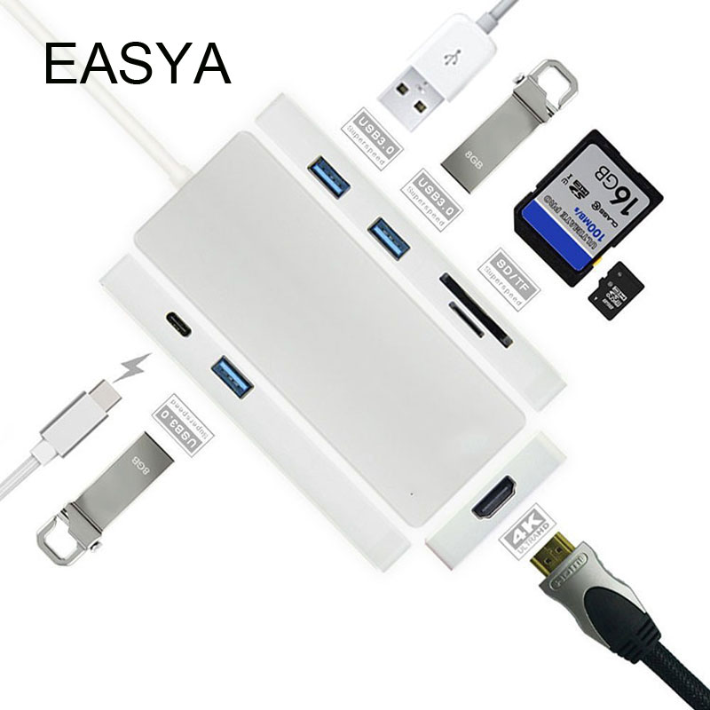 EASYA USB Type-C Hub To HDMI Adapter Thunderbolt With USB C Hub 3.0 Power Delivery 4K Video HD SD/TF Card Reader For MacBook Pro 668 usb 3 1 type c card reader