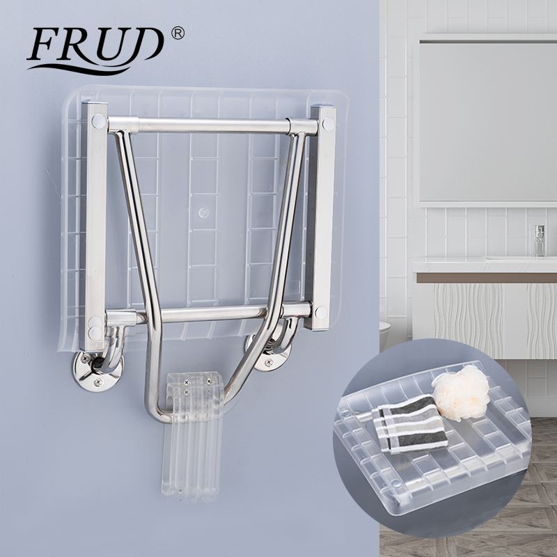 FRUD Wall Mounted Shower Seats ABS Stainless Steel Bathroom Shower Chair Shower Folding Seat Bath Shower Toilet Bath Bench Chair