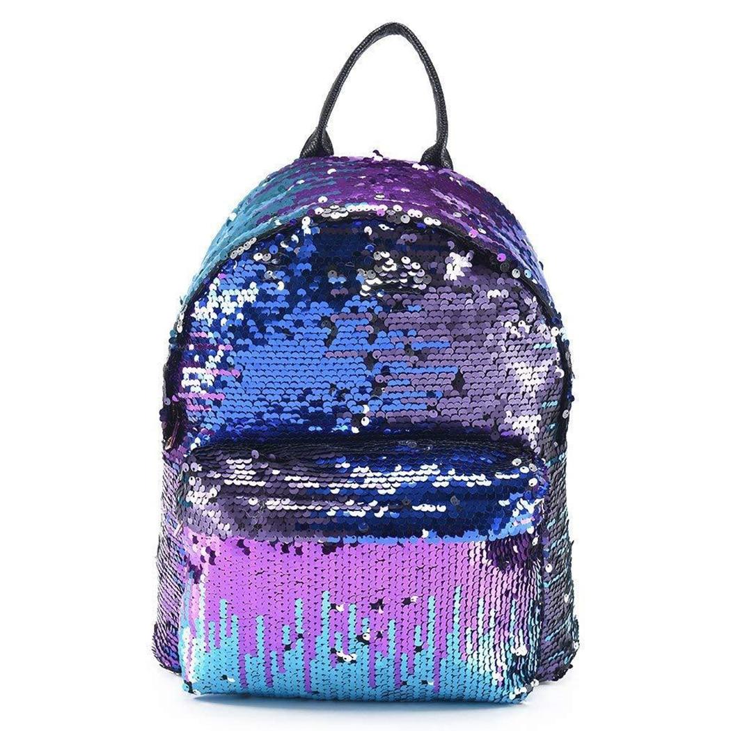 Fashion Sequins Glitter Backpack Women Girls PU Leather Rucksack Shoulder  School Bag Small Travel Bling Backpacks Knapsack Femme