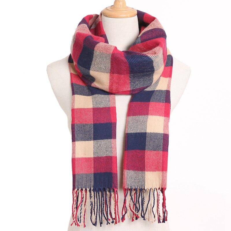 [VIANOSI] клетчатый зимний шарф женский тёплый платок одноцветные шарфы модные шарфы на каждый день кашемировые шарфы - Цвет: 14