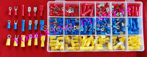 280PCS/box crimp connector insulated terminal block kit  wire cable ferrules from 22-10AWG  18 size 3 Color 800pcs cable bootlace copper ferrules kit set wire electrical crimp connector insulated cord pin end terminal hand repair kit