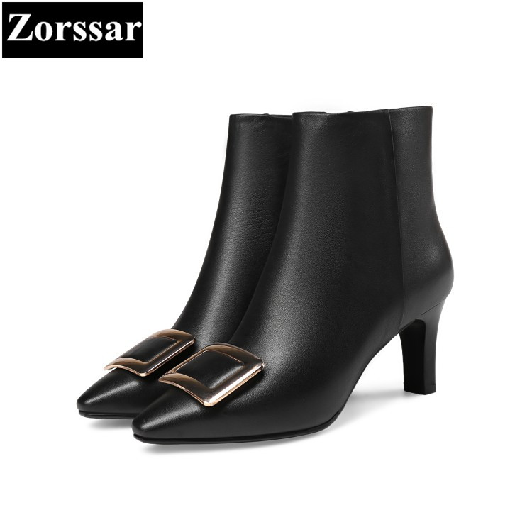 {Zorssar} 2018 Large size Women shoes Thin heels pointed Toe zipper High heels ankle Riding boots fashion womens boots winter new 2017 spring summer women shoes pointed toe high quality brand fashion womens flats ladies plus size 41 sweet flock t179