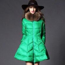 Новых Женщин Зимнее Пальто Мода Теплый Утка Вниз Толстый Пуховик куртка Сплошной цвет Енота Меховым воротником Slim Down Пальто куртки G0277