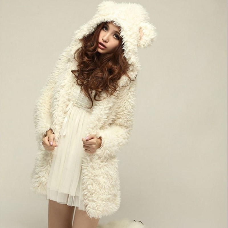 New Autumn Winter Warm Women Hoodie Coat Jacket Teddy Bear Rabbit Ears Thick Soft Fleece Fur Sweatshirt Hooded Long B080