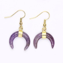 Kraft-beads Personalized Gold Color Amethysts Lapis Lazuli Crescent Moon Earrings Green Turquoises Stone Jewelry