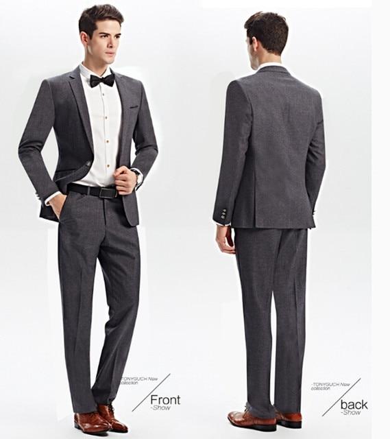 New Young People Slim Gray Leisure Suits Men Suit The Groom S Best Man Wedding Garment