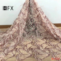 HFX Pink luxury lace fabric feather sequins embroidery lace fabric Handmade DIY 3D flowers clothing accessories materials H1753