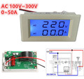 Hot Selling AC 100V~300V 0~50A Digital Blue LCD Amp Volt Ammeter Voltage Dual Display Panel Meter