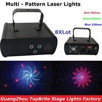 8 Pçs/lote Tamanho Mini Luz Laser RGB DJ Luzes 300 mW de Três Cores do Feixe de Iluminação de Palco Profissional DMX512 Feixe de Laser luzes