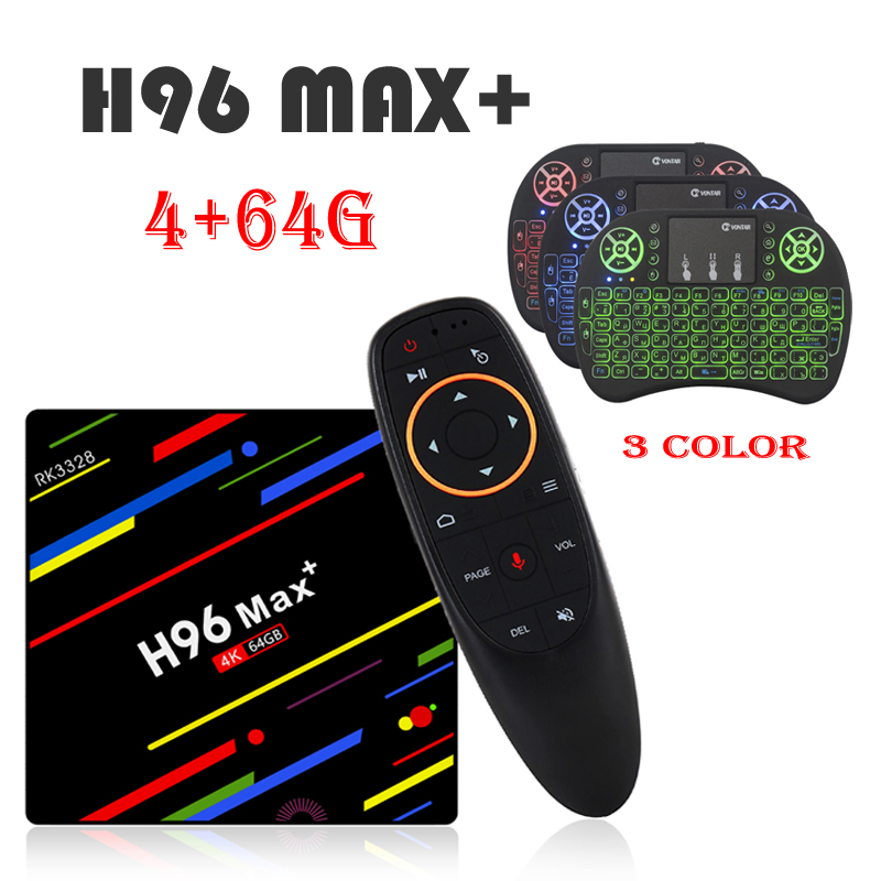H96 MAX plus VOICE remote control Android 8.1 TV Box 4GB RAM 64GB ROM Set Top Box RK3328 2.4G/5G Wifi+1PCS I8 air mouse цены