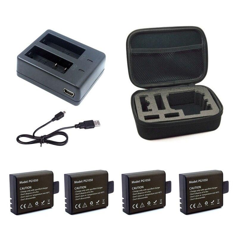 Pcs Carregador Duplo + 2 1 pcs 1050 mah Processo De Backup de Bateria Recarregável Li-ion Para EKEN H9 H9R H8PRO H8R SJ4000 acessórios Da Câmera ação