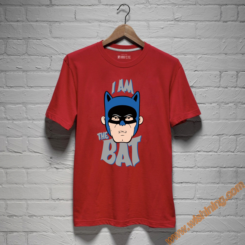 "2017 Cool Design ""I am The Bat"" Bat Man Tshirts Red Superhero Batman T-Shirt s"