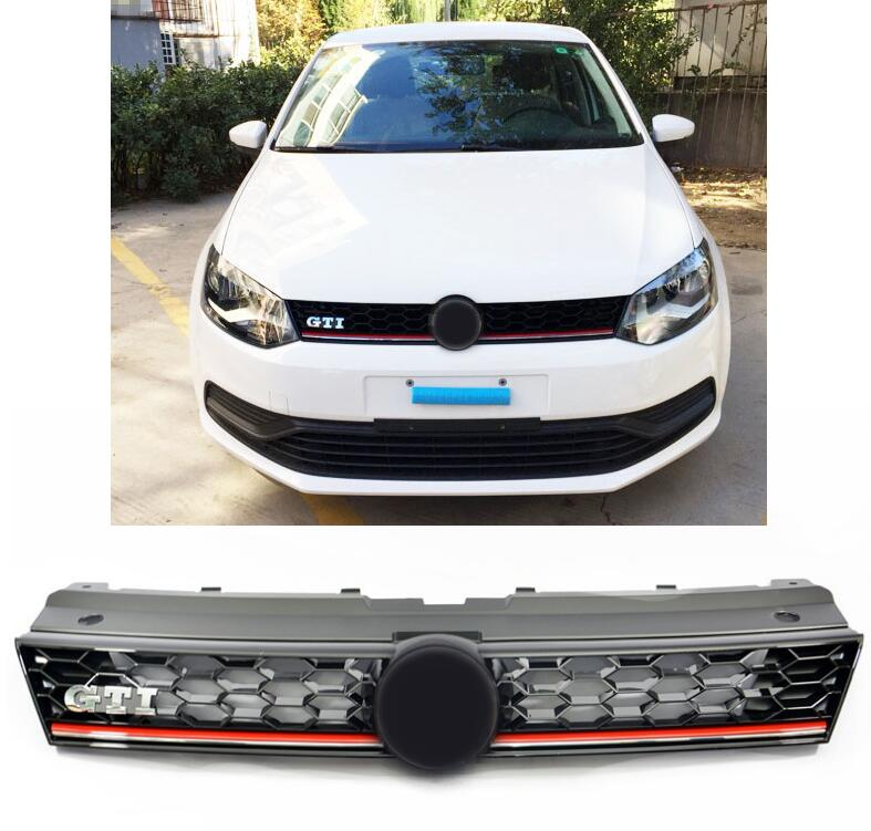 Car styling High quality Front Grills Racing Grill for VW Polo GTI Grille 2014 2015 2016 2017 high quality Car accessories цена