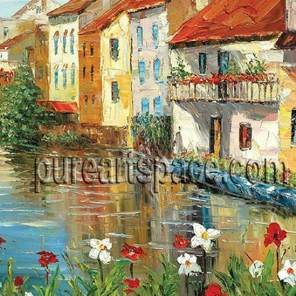 Houses by the river - palette knife oil paintings,buy more and enjoy Wholesale price !