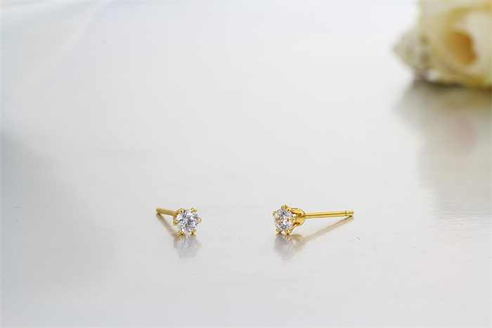 Gold Color Round Cubic Zirconia CZ Mini Small Piercing Stud Earrings For Womens Kids Girls Baby Child Jewelry Bijoux Aros Aretes