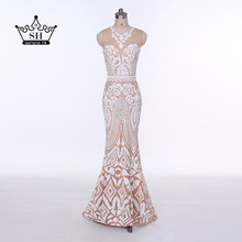 2017 New Arrival Sexy Sheer Mermaid Long Evening Dresses Printed Prom Dress Party Gown Dubai Arabic Robe De Soiree Formal Dress