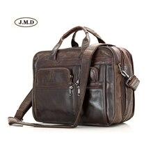 J.M.D Unique Design Genuine Vintage Leather Mens Briefcase Three Compartment Multifunctional Handbag Messenger Bag 7093C