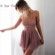 Bra Pad Pink Lace Playsuit Casual Camis Sexy Bodysuit Women Shorts Boho Pleated Jumpsuit vestido Summer Style Leisure Rompers