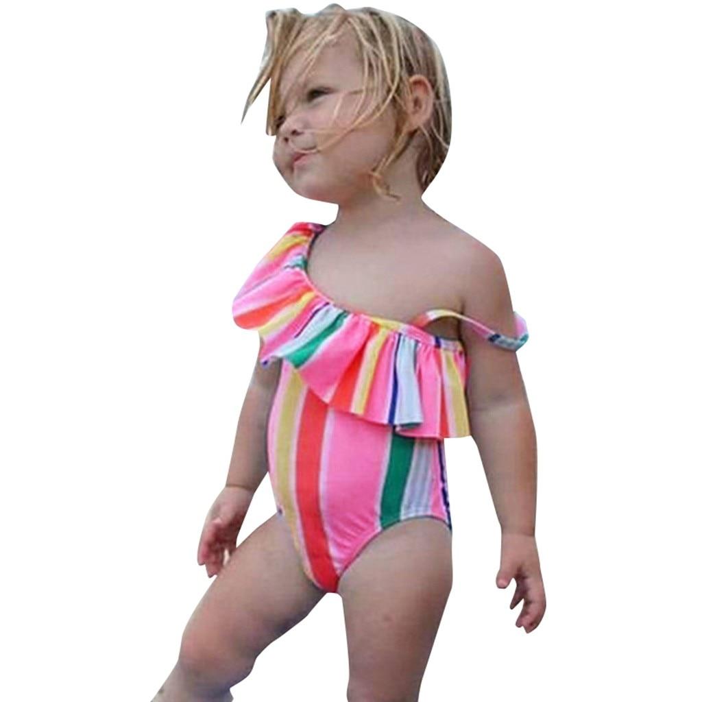 Summer Children Swimwear Fo Girls Kids Polyester One Piece Swimsuits Bathing Suit Bikini Beach Rainbow Stripe Swimsuit K314 Skilful Manufacture Lights & Lighting