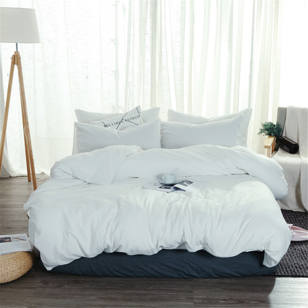 Soft Washed Cotton Bedding Set White Bedlinen Twin Full Queen King Duvet Cover Bed Sheet Pillowcase Adult Solid Color Bedclothes