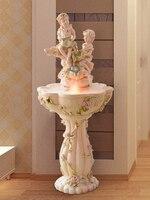 Европейский фонтан воды Дисплей СЧАСТЛИВЫЙ ВЕТЕР колесо рыба Ангел пруд гостиная украшение свадебные подарки